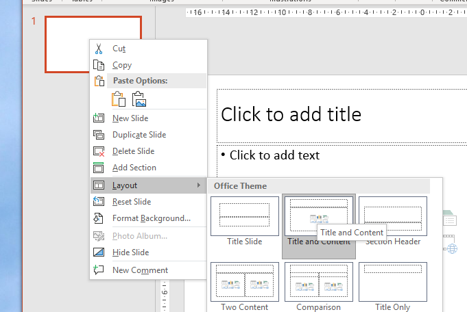 image of powerpoint app showing layout of title and content