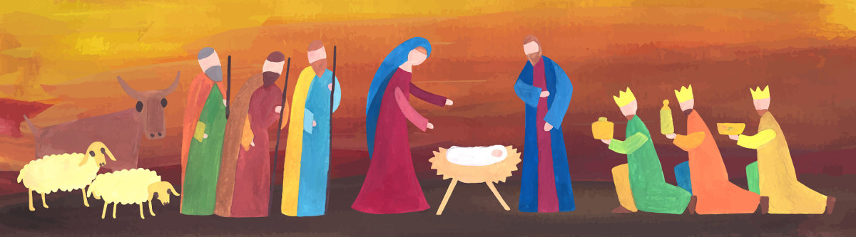 image of shepherds and magi visiting Jesus as a baby