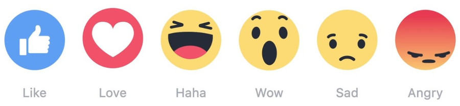 facebook reactions images - like, love, haha, wow, sad, angry